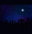 forest landscape and starry night sky vector image vector image