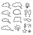 hand drawn set of sketch speech bubbles clouds vector image vector image