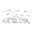 hand-drawn sketch lanes fly over the cities above vector image vector image