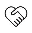 handshake symbol forming a heart vector image vector image
