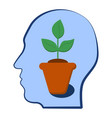head with a plant inside selfdevelopment vector image vector image