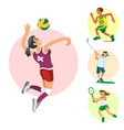 health sport and wellness flat people characters vector image