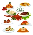Italian cuisine dinner with dessert cartoon icon vector image vector image