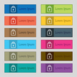 Lock icon sign Set of twelve rectangular colorful vector image vector image