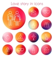 Love story in line icons vector image