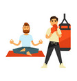 man doing yoga on rug and boxing person in gloves vector image