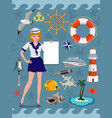 nautical icon set cruise images design elements vector image vector image