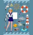 nautical icon set cruise images design elements vector image