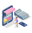 online shopping concept on mobile vector image