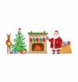 santa and reindeer at the fireplace - cartoon vector image