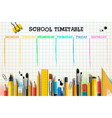 school timetable template for students or pupils vector image vector image