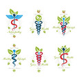 set of caduceus conceptual emblems created with vector image vector image