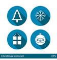 set of christmas icons on blue background with vector image vector image