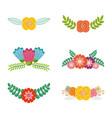 set of spring typographic badges floral labels vector image