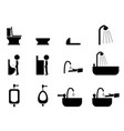 set of toilet icons in silhouette style vector image