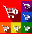 shopping cart with add mark sign set of vector image vector image