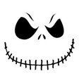 sinister pumpkin face on white background vector image vector image