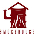 smokehouse concept with barrel and flame vector image