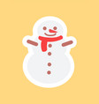 snowman in cute red scarf funny sticker vector image
