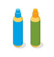 spray in plastic bottles cosmetic product icon vector image