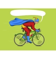 Superhero on a bicycle comic book vector image vector image