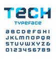tech square font alphabet with latin letters vector image