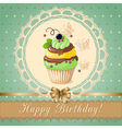 vintage birthday card with cupcake on the napkin vector image
