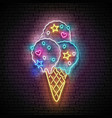 vintage glow signboard with ice cream balls in vector image