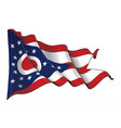 waving flag of the state of ohio vector image vector image