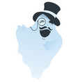 white ghost with mustache in hat and pince-nez vector image vector image