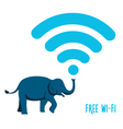 Wi-Fi sign wih an elephant vector image