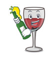 with beer wine mascot cartoon style vector image