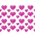 Pixel heart seamless pattern vector image