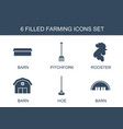 6 farming icons vector image vector image
