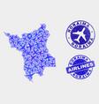 aero mosaic roraima state map and grunge vector image vector image