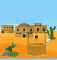 arab village with waterhole vector image