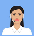 asian woman in headset vector image