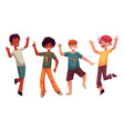 black and caucasian boys kids having fun dancing vector image vector image
