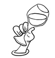 black and white hand holding glass of wine vector image vector image