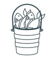 blue dark silhouette bucket full fish vector image vector image