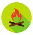 campfire circle icon vector image