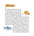 cartoon shark maze game vector image vector image