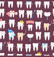 cartoon tooth seamless pattern background vector image
