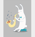 cartoon white rabbit playing saxophone vector image