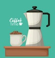 color background with of porcelain mug with pile vector image