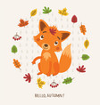 cute fox autumn background vector image vector image