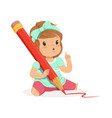 cute little girl sitting on the floor and writing vector image vector image
