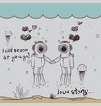 cute love of two divers-boy and girl vector image vector image
