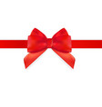 decorative red bow with red ribbon isolated on vector image vector image
