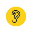 ear icon symbol human ear listen hear line vector image vector image